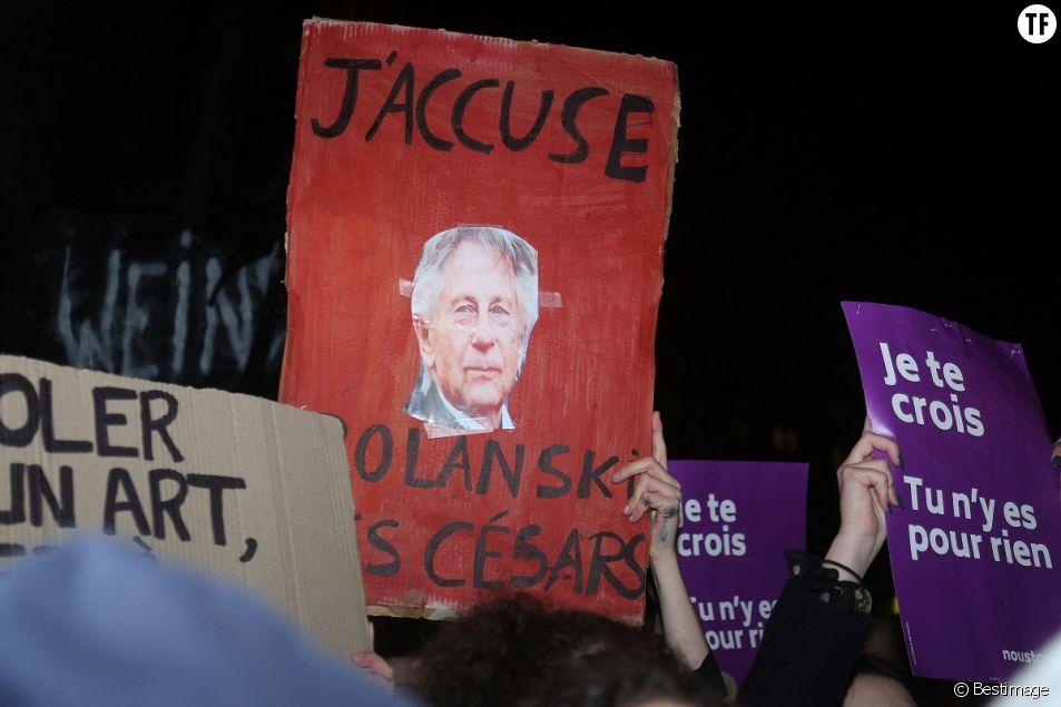 Manifestation contre la nomination de Roman Polanski avant la 45ème cérémonie des César à Paris, le 28 février 2020.