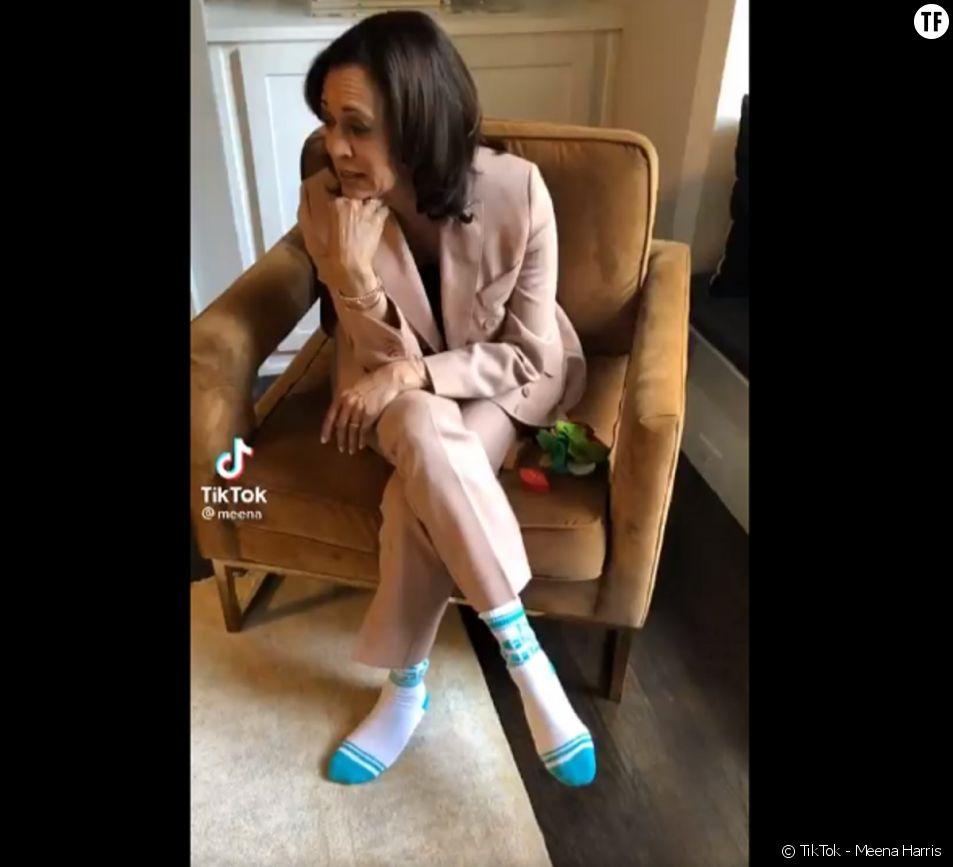 Les chaussettes péchues de la vice présidente Kamala Harris, un TikTok viral de Meena Harris.