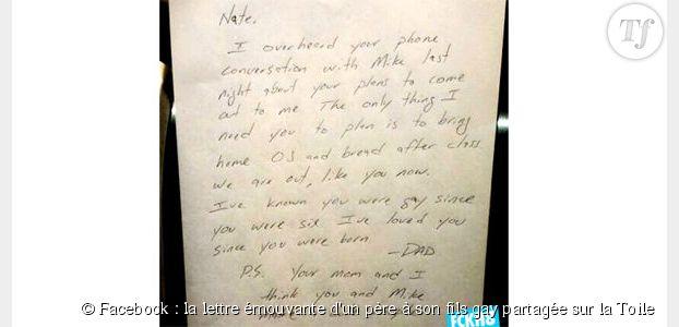 Facebook : la lettre émouvante d'un père à son fils gay partagée sur la Toile