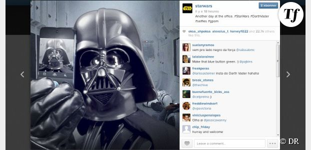 "Star Wars 7: Dark Vador se fait une ""selfie"" hilarante sur Instagram"