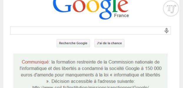 Google, condamné à 150 000 euros d'amende par la Cnil publie un communiqué