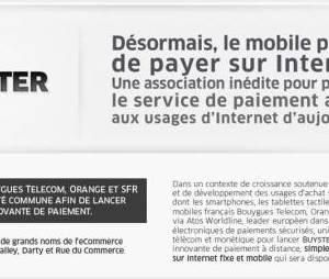 Buyster permet de payer sur Internet avec son mobile
