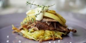 Recette des Blinis craquants au confit de canard et aux pommes