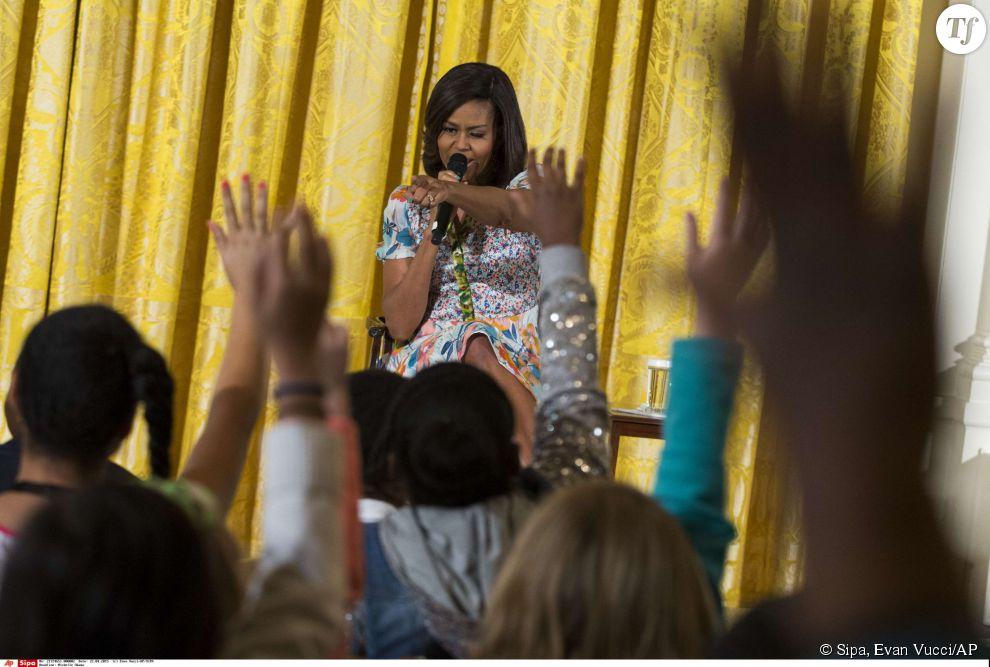 Michelle Obama rencontrait, mercredi à Washington, un groupe d'enfants.