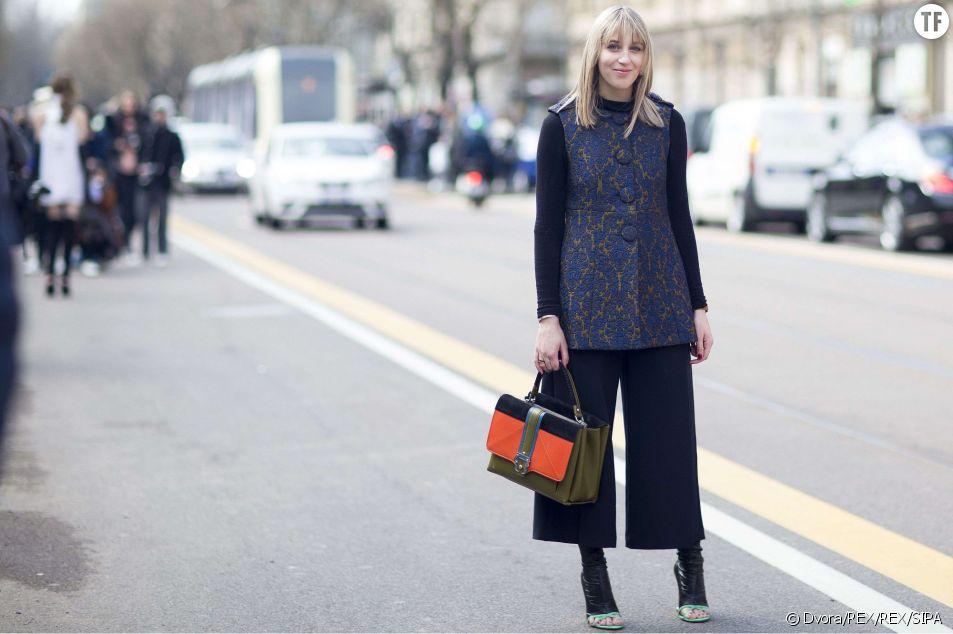 Retour en grâce de la jupe-culotte pendant la Fashion Week de Milan en février 2015.