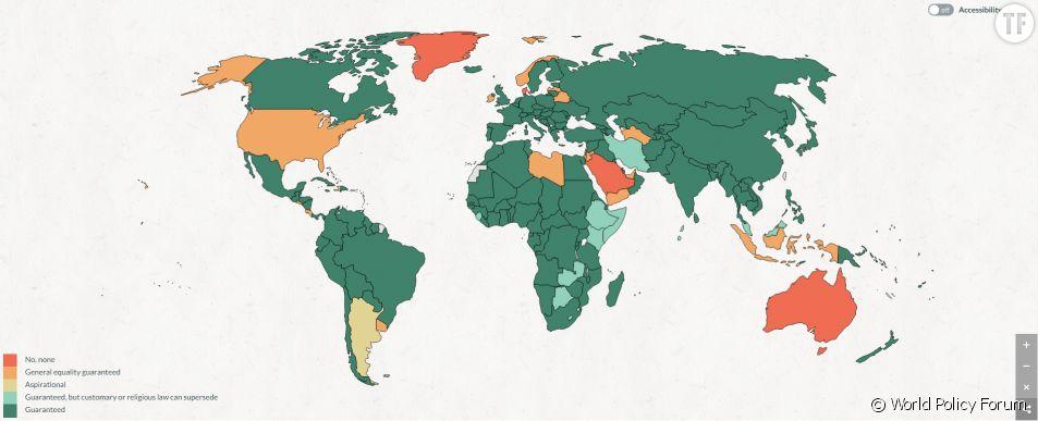 Pays dont la constitution aborde au moins une fois l'égalité hommes-femmes.