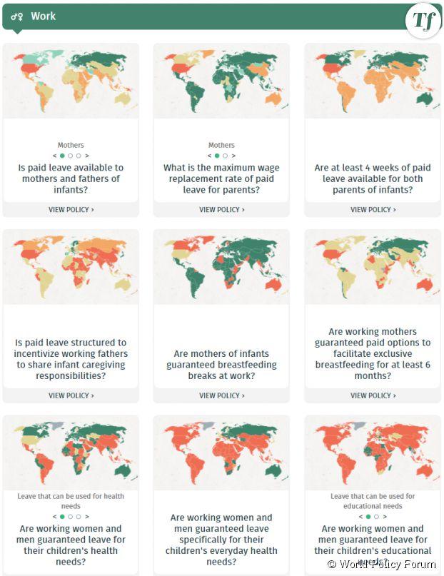 Une sélection des cartes proposées par l'étude du WORLD Policy Analysis Center.