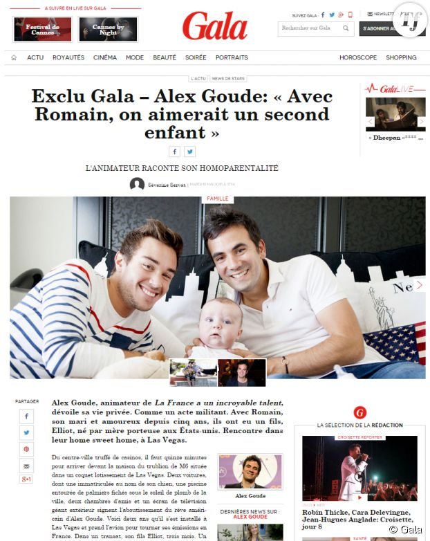 Alex Goude, son mari et leur petit garçon Elliot dans Gala.