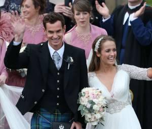 Andy Murray et son épouse Kim Sears lors de leur mariage en Ecosse le 11 avril 2015.