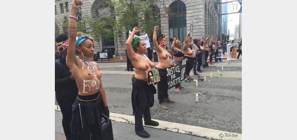 Des femmes noires manifestent contre les violences policières à San Francisco.