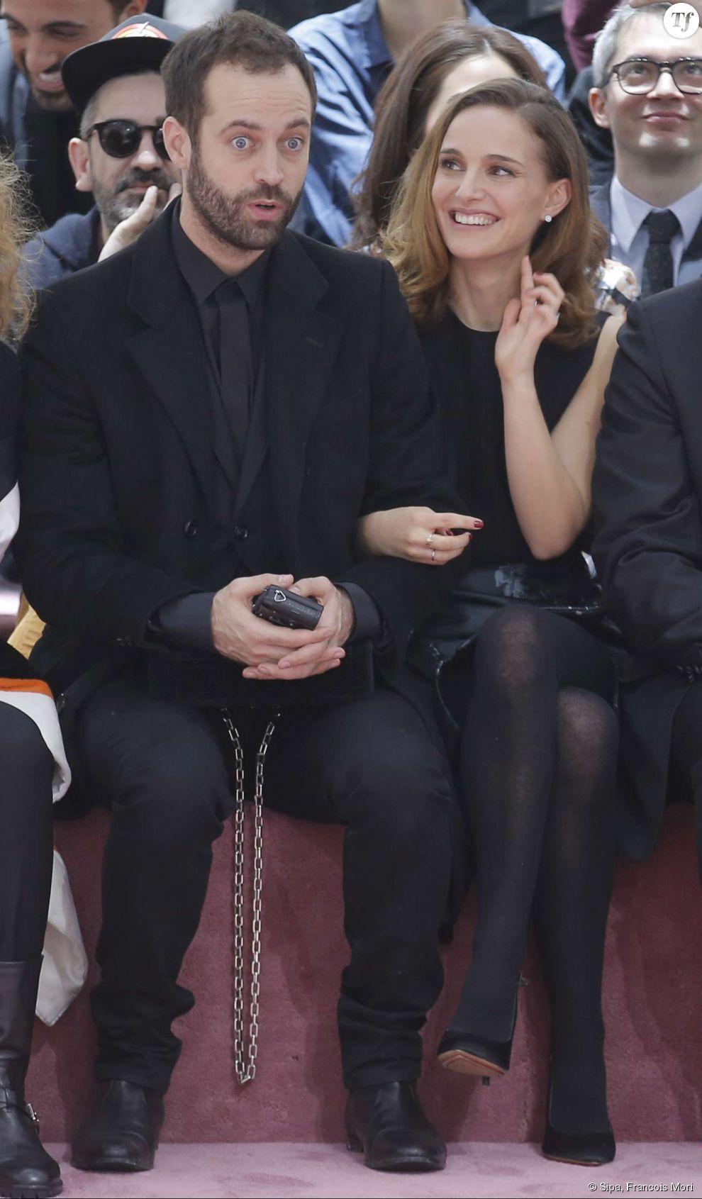 Natalie Portman et Benjamin Millepied lors d'un défilé Christian Dior le 26 janvier 2015.