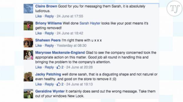 Commentaires postés en réaction à la photo de Sarah Hayter