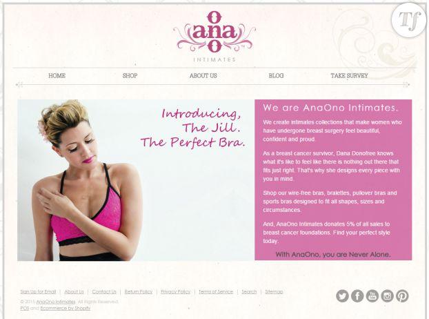 La page d'accueil du site de AnaOno Intimates.