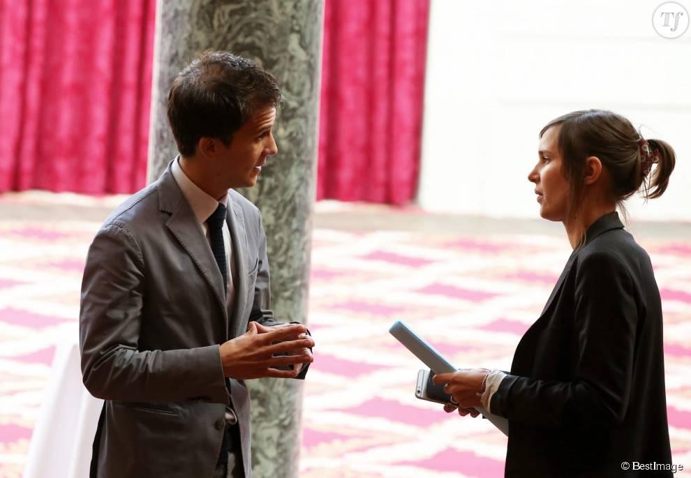 Gaspard Gantzer et sa femme Emilie Lang à la remise du Prix de l'Audace Créative au Palais de l'Elysée. Ce prix crée par Marc Ladreit de Lacharrière en 1996 a été décerné à Jean-Claude Maillard, PDG et fondateur du groupe Figeac-Aéro Paris, le 15 septembre 2015