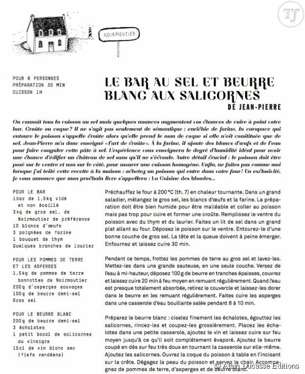 """Recette du bar en croûte de sel tirée des """"Carnet de Julie"""", paru chez Alain Ducasse Edition"""