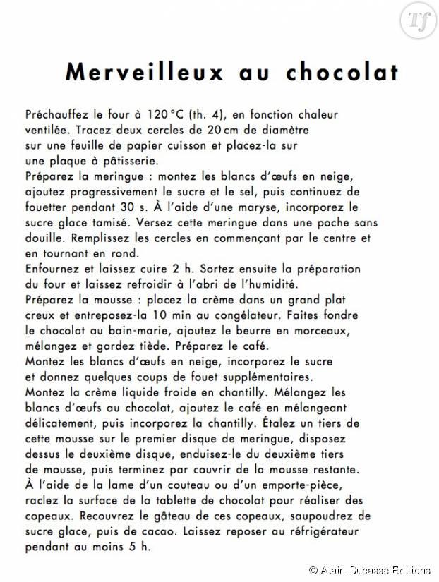 """Recette du merveilleux au chocolat tirée de """"All my Best Desserts"""" paru chez Alain Ducasse Edition"""