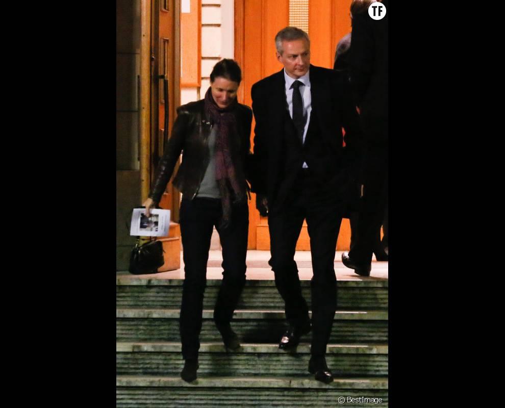 Bruno Lemaire et sa femme Pauline après la cérémonie hommage à Xavier de Villepin