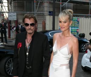 Johnny Hallyday et son épouse Laetitia en juillet 2015