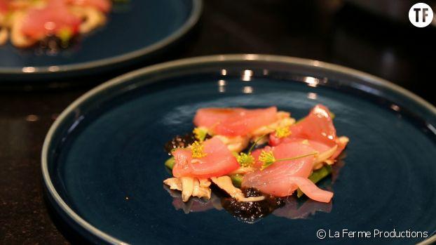 Une assiette dressée par Adeline Grattard, cheffe étoilée de Yam'Tcha, à Paris