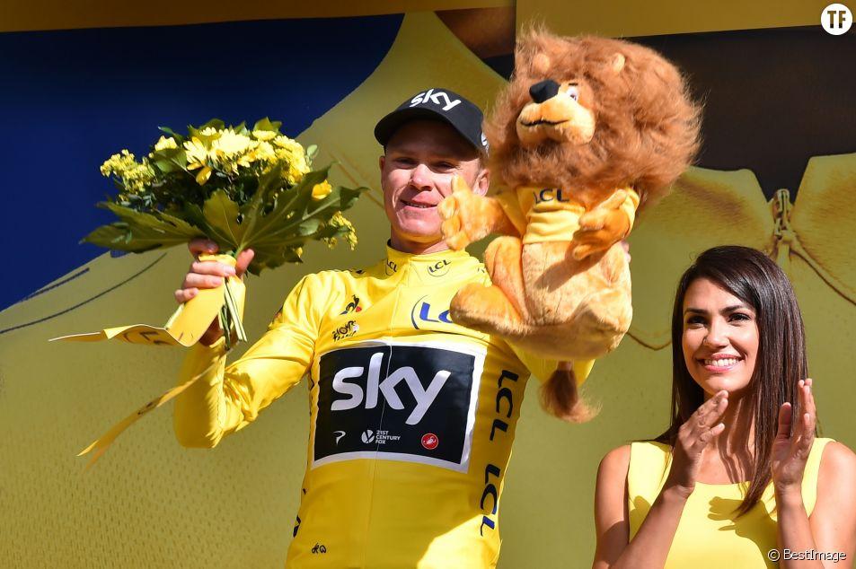 Le maillot jaune Christopher Froome à l'arrivée de l'étape Salle-des-Alpes, le 19 juillet 2017.