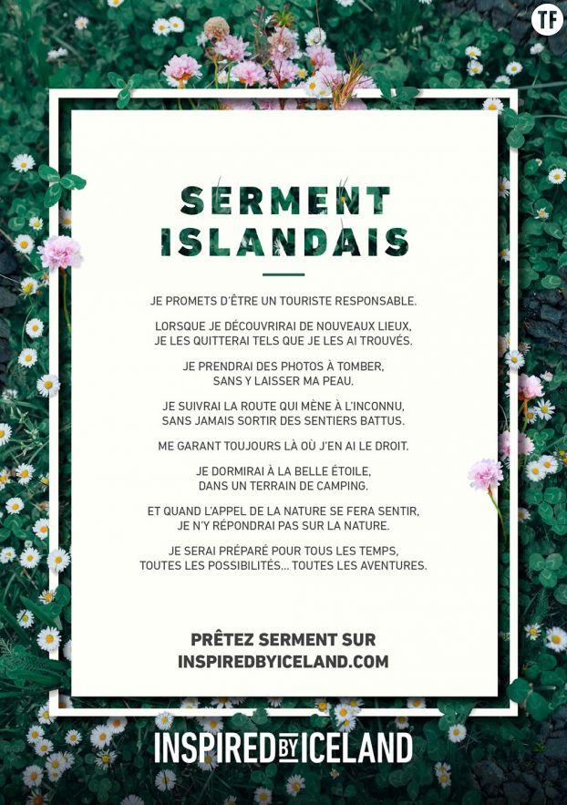 Le serment islandais que les touristes peuvent signer