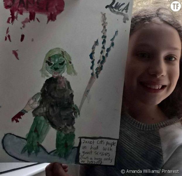 Janet, super héroine imaginée par Luca, une fillette américaine âgée de 10 ans.