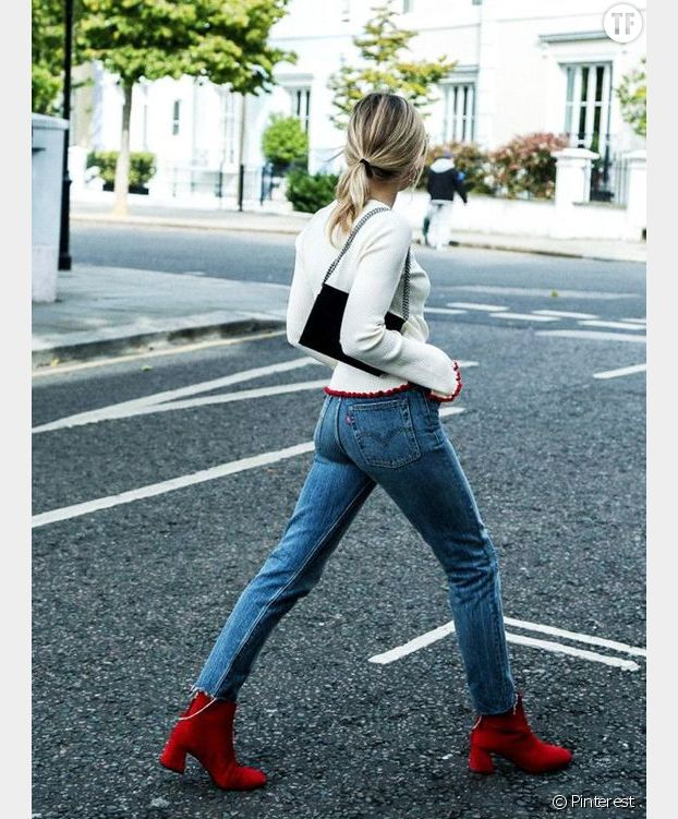 Idée de look : bottines rouges