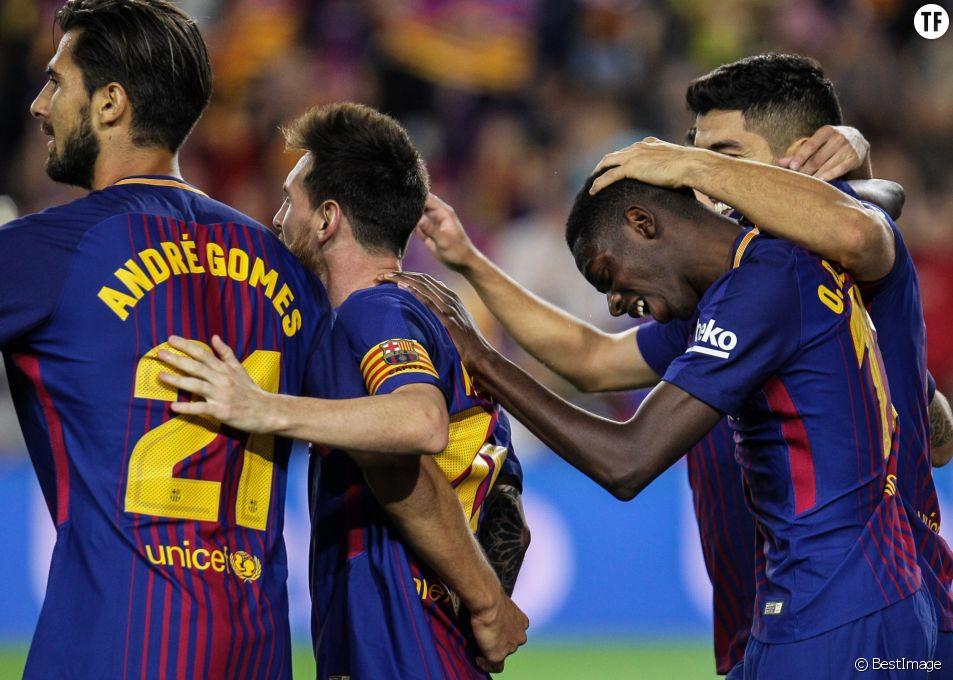 Premier match d'Ousmane Dembélé avec le FC Barcelone à Barcelone le 9 septembre 2017.