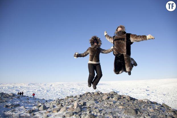 Les touristes en hiver au Grenland.