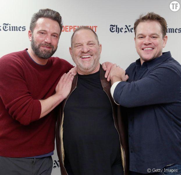 Harvey Weinstein entouré de Ben Affleck et Matt Damon en octobre 2016