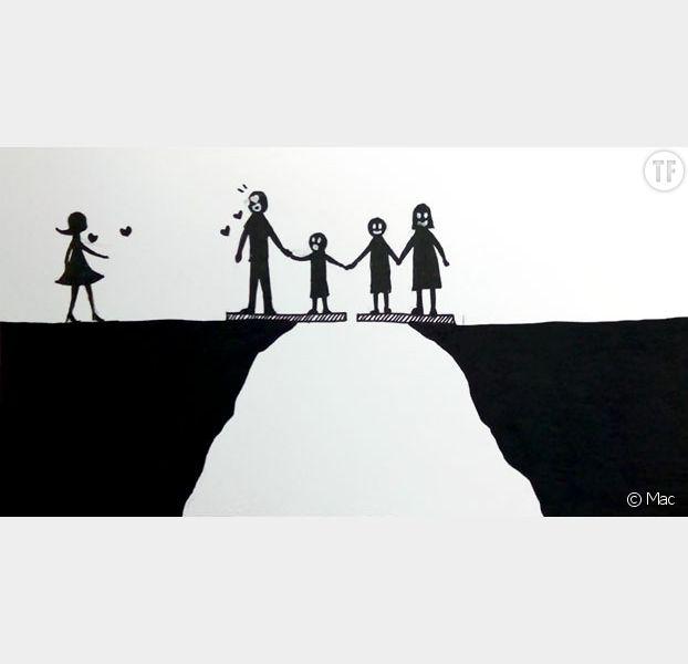 Cette illustre tristement le sentiment d'enfants de divorcés