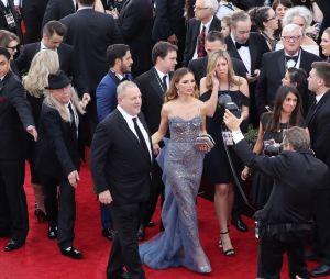 Harvey Weinstein et sa femme sur le tapis rouge des Golden Globe Awards en janvier 2017.