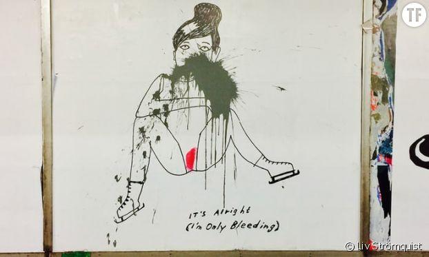 Un des dessins de Liv Strömquist affichés dans le métro de Stockholm