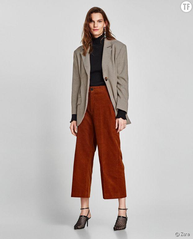 Jupe culotte Zara en velours côtelé