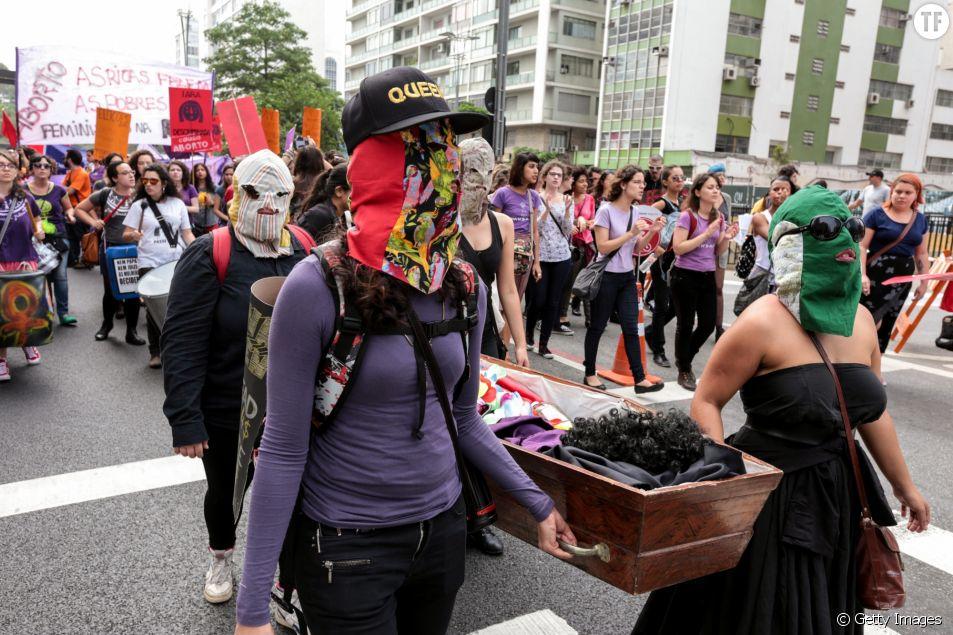 Une manifestation pour la dépénalisation de l'avortement à Sao Paulo au Brésil en 2014
