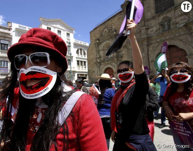 Manifestation pour le droit à l'avortement à La Paz en Bolivie en 2013