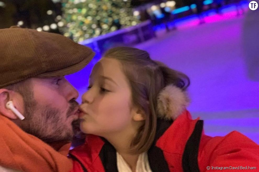 David Beckham embrasse sa fille Harper sur la bouche
