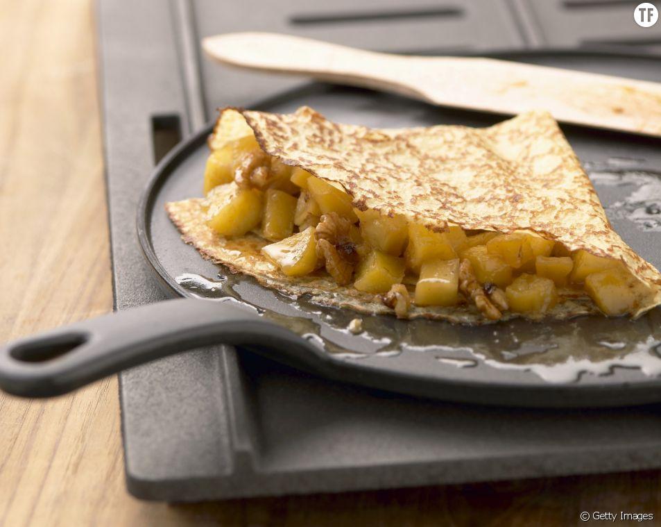La recette de la crêpe tarte aux pommes.