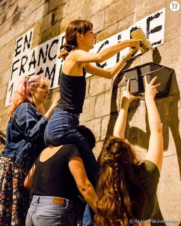 Partout, les militantes font le mur.