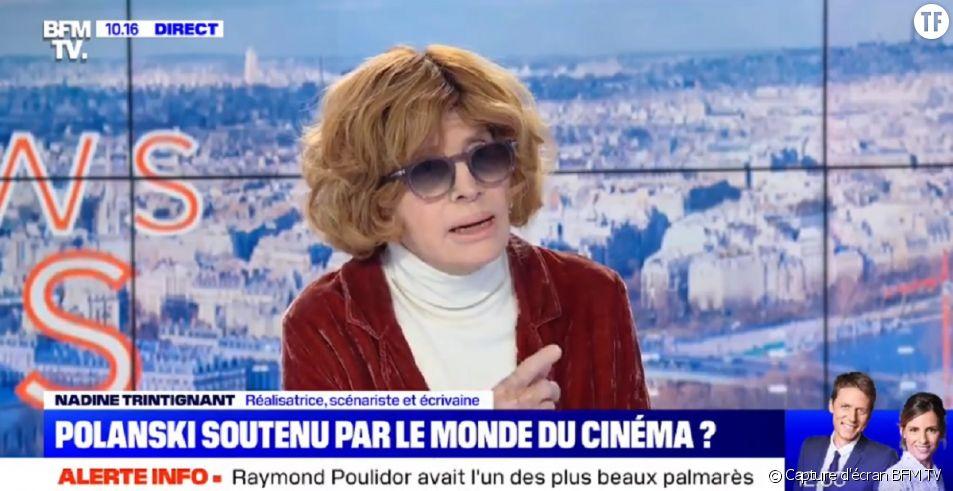 Nadine Trintignant défend Roman Polanski sur le plateau de BFM TV.