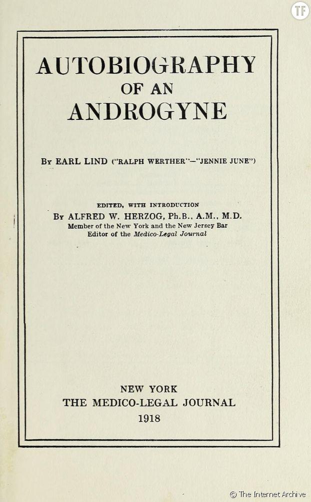 """""""Autobiographie d'un.e androgyne"""" de Jennie June (écrit sous pseudonyme)."""