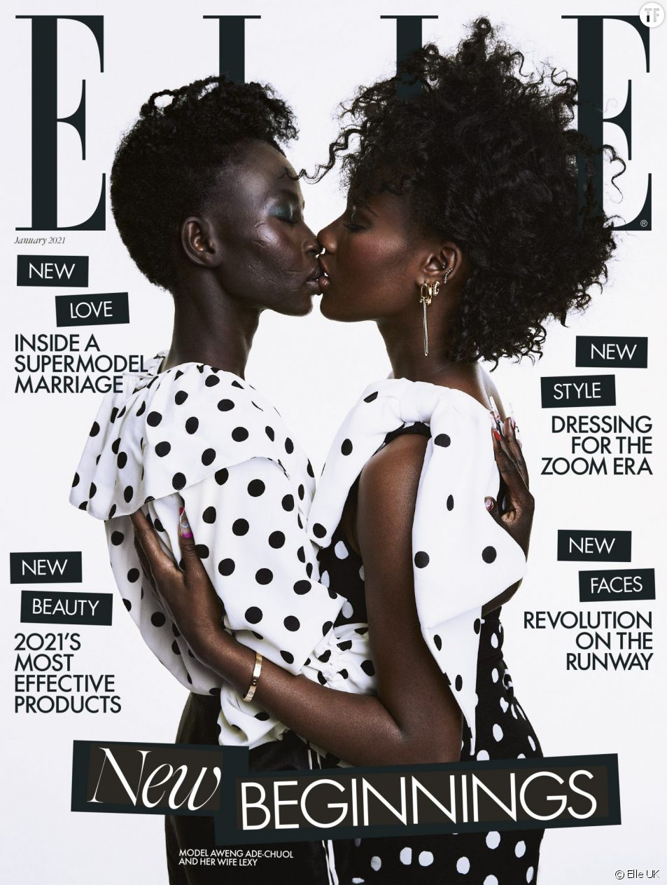 """La dernière Une du magazine """"Elle UK"""" met à l'honneur le baiser lesbien de la mannequin Aweng Ade-Chuol."""