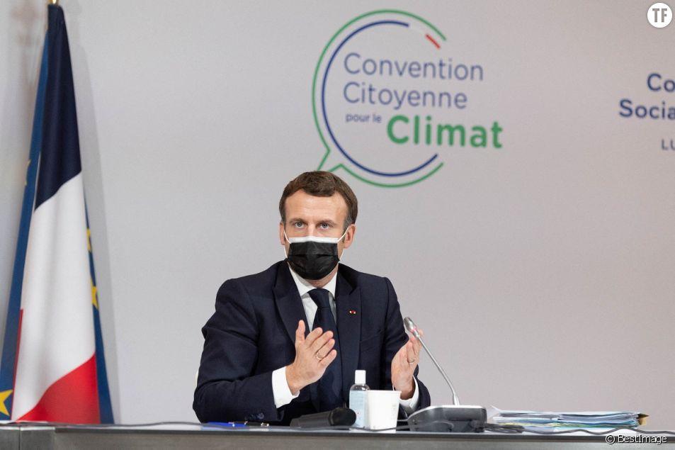 Le président français Emmanuel Macron lors de la convention citoyenne à Paris le 14 décembre 2020.