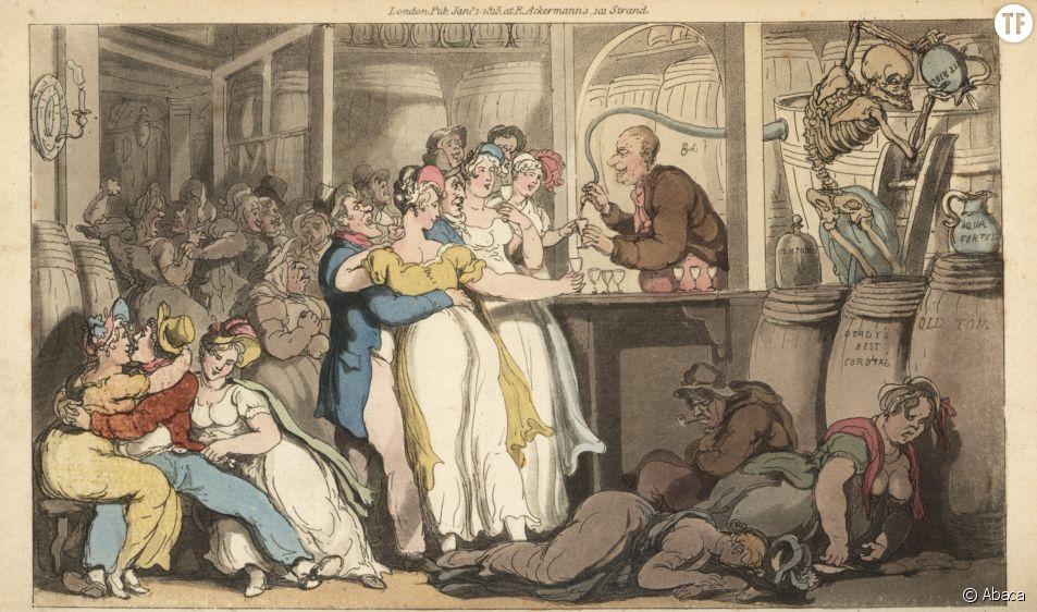 """Gravure de Thomas Rowlandson """"The English Dance of Death"""", 1816."""
