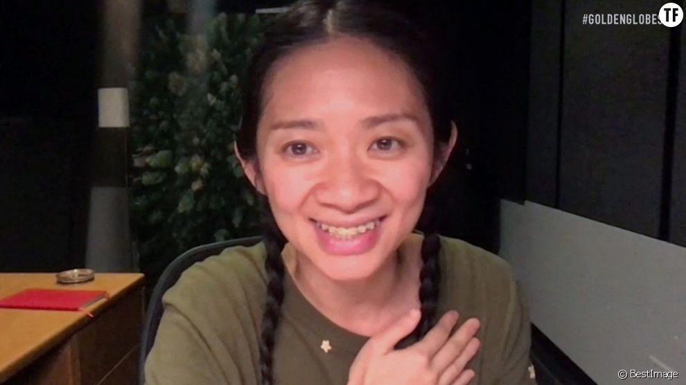 La réalisatrice Chloé Zhao lors des Golden Globes 2021