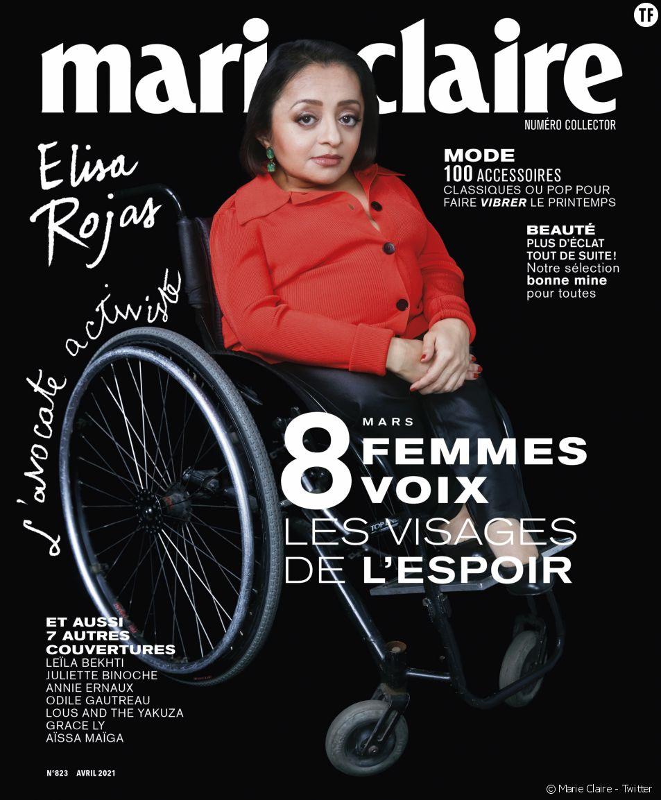 """L'avocate féministe et handicapée Elisa Rojas en Une du magazine """"Marie Claire""""."""