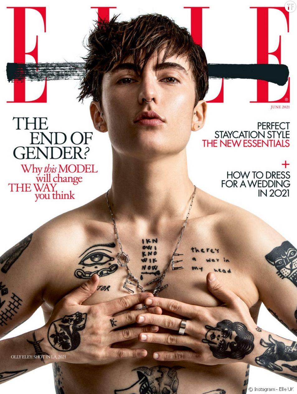 """Olly Eley, premier.e modèle non-binaire à poser en couverture de """"Elle UK"""""""