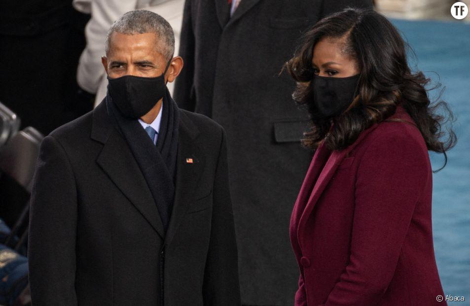 L'ancienne First Lady Michelle Obama en compagnie de son époux.