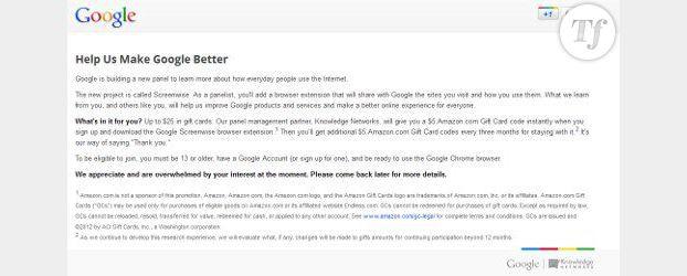 Screenwise : Google piste ses membres contre des chèques-cadeaux