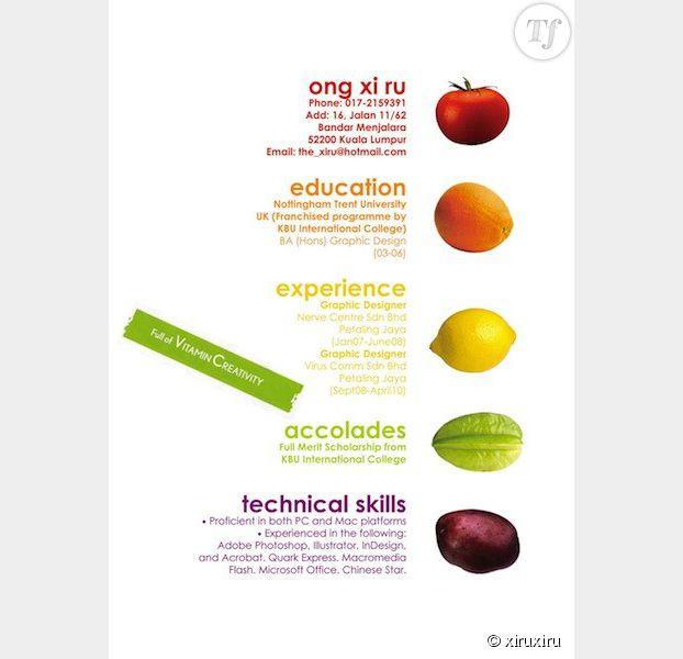 Le CV fruité et vitaminé